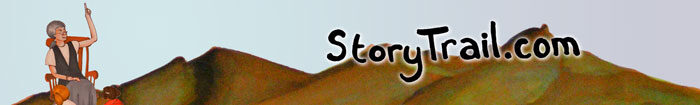 Storytrail Logo: Image of storyteller pointing up, mountains, and storytrail.com